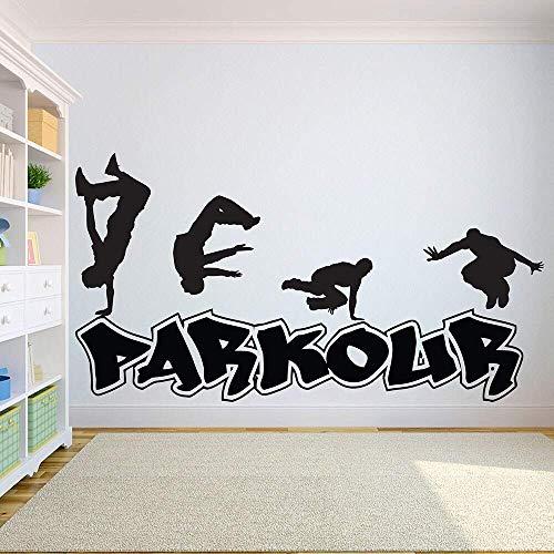 Parkour Tatuajes De Pared Deportes Extremos Salto Ciudad Street Dance Vinilo Ventana Pegatinas Arte Adolescentes Dormitorio Sala De Juegos Decoración Interior 42 * 78Cm