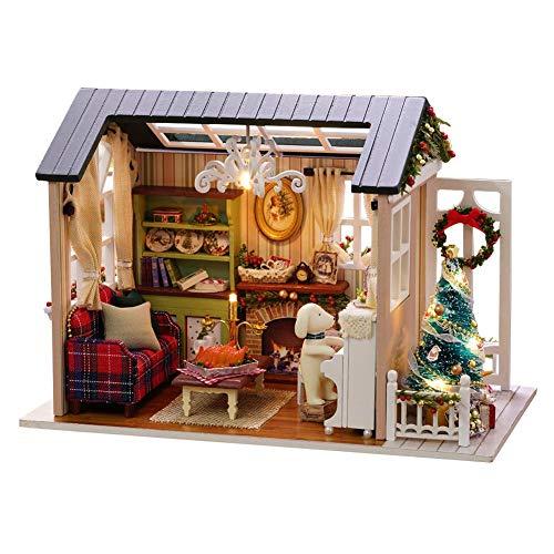 DIY House - Casa de muñecas 3D de madera en miniatura con cubierta antipolvo, juego de muñecas en miniatura, juguetes educativos para niños, regalo de Navidad, cumpleaños, San Valentín