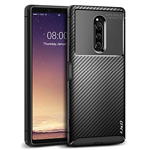 J&D Case Compatible for Xperia 1 Case, Carbon Fiber Pattern Drop Protection Shock Resistant TPU Slim and Anti-Scratch Case for Sony Xperia 1 Bumper Case, Not for Sony Xperia XZ4 Compact, Black