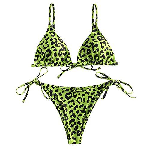 ZAFUL Set Bikini Imbottito con Stampa Leopardo da Donna, Costume da Bagno Bikini con Coppe Spaghetti a Triangolo