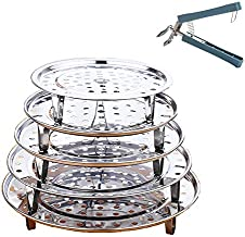 Brainver 5pcs Stainless Steel Steamer Rack, Multi-Purpose Round Canning Rack Cooling Rack with Detachable Legs for Baking.Cooking, Steaming, Lifting Pressure Cooker.(7