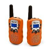Upgrow 2X Walkie Talkies Set Kinder Funkgeräte 3KM Reichweite 8 Kanäle mit Taschenlampe Walki Talki Kinder (orange)