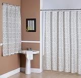 Kashi Home Lori 14 Piece Bathroom Accessories Set, Canvas Shower Curtain, Hooks, Bathroom Window Curtain, Floral Scroll Print