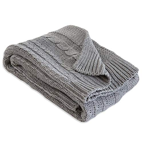 Burt's Bees Baby - Cable Knit Blanket, Baby Nursery & Stroller Blanket, 100% Organic Cotton, 30' x 40' (Heather Grey)