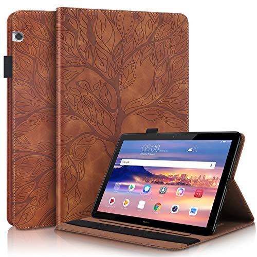 YaMiDe Funda para Huawei MediaPad T5 10.1 Inch Tablet 2018, [con Protector de Pantalla], Funda de Piel con Ranura para Tarjeta y Auto Sleep/Wake, árbol de la Vida, Marrón