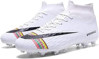 Sxwz Niños Calzado Deportivo Zapatos de fútbol de Hierba de los Hombres Zapatos de fútbol para niños de Alto Ayudar a los Zapatos de fútbol de los Hombres Largos,White,36