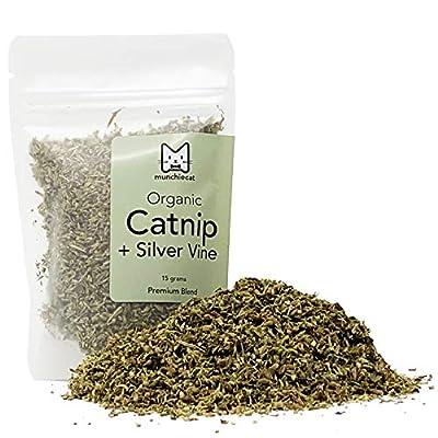 munchiecat Organic Catnip with Silvervine, USA Grown, Leaf and Flower Premium Blend (15 Grams)