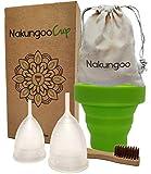 NakungooCup Copa Menstrual Kit Suave Organica Certificado 2 Copas en Talla S y L Esterilizador de Silicona Lavable Dura 12 Horas 30ml Ideal Para...
