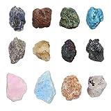Jovivi Piedras Preciosas Set Piedra Natural heilsteine Mezcla 12x Forma Lose rohsteine con Caja Feng Shui Chakra Mesa Decorativa Decoración