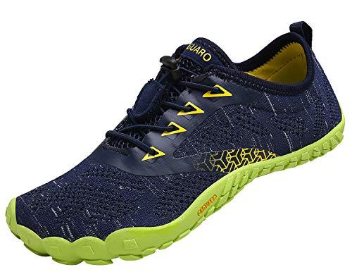 Hombre Zapatilla Minimalista de Barefoot Trail Running Zapatillas de Deporte,Tejer Azul,39