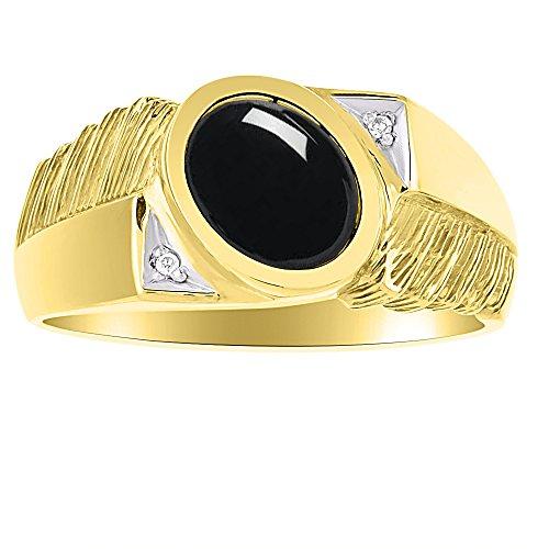 Para hombre Negro Onyx & Diamond Anillo Plata de Ley o plata chapado en oro amarillo