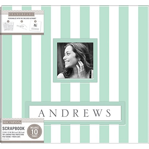 "K&Company Frame-A-Name Post Bound Album 12""X12""-Mint Wide Stripe"