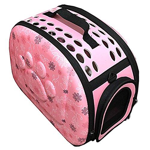 【19blue】 ペット キャリーバッグ 犬 猫 動物 持ち運び 肩掛け 肉球 (ピンク)
