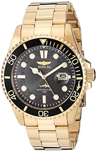 Invicta Relógio masculino de quartzo Pro Diver com pulseira de aço inoxidável, dourado, 22 (modelo: 30026)