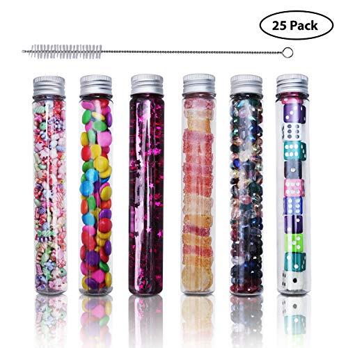 Reagenzgläser (25 Stück) - 110ml Reagenzgläser Kunststoff mit Reinigungsbürste - Transparent Reagenzgläser für Blumenvase, Beads, Gastgeschenke Hochzeit Süßigkeiten, Glas Perlen, Nadeln
