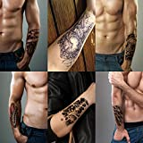Leoars 3D Arm Temporary Tattoo Stickers, Waterproof Body Arm Fake Tattoo Sticker, Body Makeup Painless Tattoo for Men Women Removable, 6-Sheet