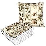 Manta de almohada de terciopelo suave 2 en 1 con bolsa suave estilo vintage de seta botánica básica funda de almohada para casa, avión, coche, viajes, películas