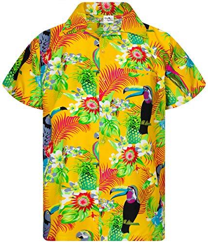 King Kameha Funky Camicia Hawaiana, Manica Corta, Parrot Cockatoo, Giallo, XS