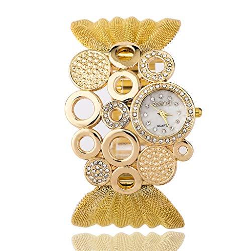 GLEMFOX Gepersonaliseerd dames kwartshorloge mesh band diamant wijzerplaat mode kledingaccessoires horloge goud/zilver dameshorloge goud