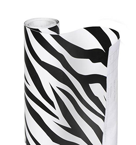 Smart Design Shelf Liner Adhesive - (18 Inch x 20 Feet) - Drawer Cabinet Paper - Kitchen [Zebra Stripes]