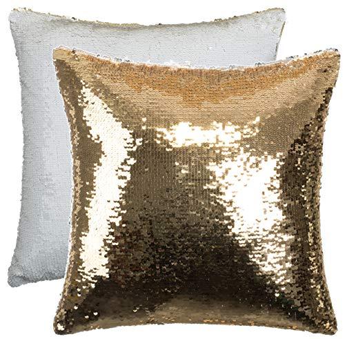 Brandsseller Cojín decorativo reversible con lentejuelas, con relleno, tamaño: aprox. 40 x 40 cm, color: dorado y blanco