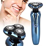 Maquinilla de afeitar eléctrica para hombres, maquinilla de afeitar recargable a prueba de agua, afeitado para barba 4D inteligente, 3 cabezas, maquinilla de afeitar giratoria para barba
