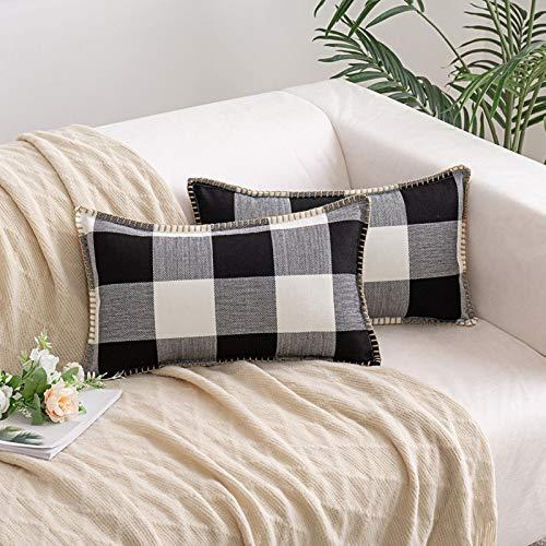 HAUSEIN 2 fundas de cojín retro de granja de Buffalo a cuadros de algodón y lino, funda de cojín decorativa, suave y cómoda, para salón, dormitorio, sofá, cojín decorativo (negro y blanco, 30 x 50 cm)