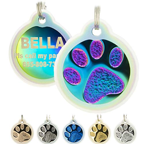 Engraved Pet Tag for Dogs&Cats with Silencer - Personalized Front & Back up to 8 Lines of Text Custom Engraved ID, Round Paw Print Solid Plating Stainless Steel in Gold, Rose Gold, Blue, Black, Nebula