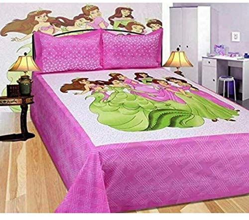Traditional Jaipur Bedrucktes Bettlaken aus Baumwolle von Disney Princess, Tagesdecke Tagesdecke für Kinder & Mädchen mit 84 x 90 Zoll & 2 Kissenbezügen (blau) (PINK)