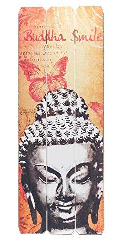 levandeo Wandbild Holzschild 80x30cm Buddha Smile - Shabby Vintage Holzbild Schild Wandschild Bild Holz Holztafel Dekoschild Wanddeko