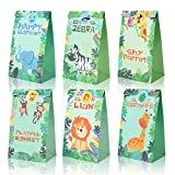 Jungle Safari Animals Treat Bags Zoo Animals Birthday Party Favor Decorations Supplies Goody Gift Bags with Stickers for Kids Baby Shower Birthday Party Favor Set of 12