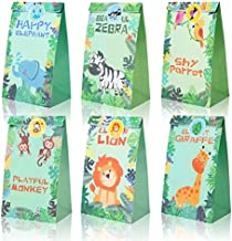 18 pcs Jungle Safari Animals Treat Bags Zoo Animals Birthday Party Favor Decorations Supplies Goody Gift Bags with Stickers for Kids Baby Shower Birthday Party Favor