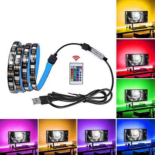 YSNMM 5 V USB LED nachtlampje 5050 RGB 3M TV PC Laptop Background Lighting Bedside Kitchen Decor IR Remote 24 Sleutels