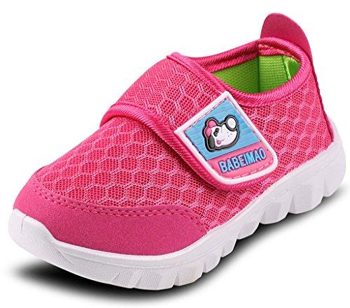 DADAWEN Baby's Boy's Girl's Mesh Light Weight Sneakers Running Shoe Rose Red US Size 4 M Toddler