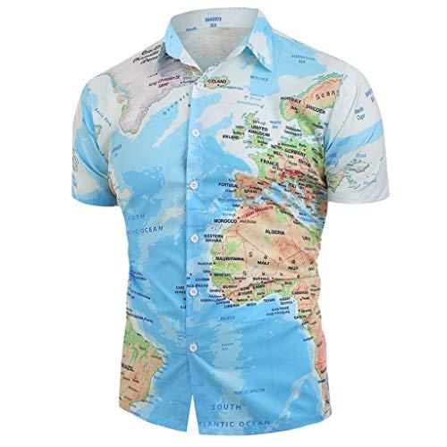 BaZhaHei Herren Neu Sommer Hemd Kurzarm Shirt Sommer Hawaiihemd für Strand Freizeit Button Down Hemden Shirts Weltkarte drucken mit Knopf Shirt Top Bluse (XXL, Blau)