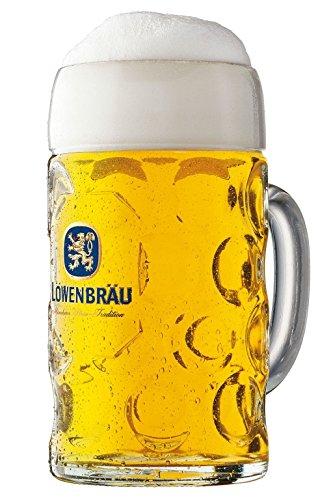 Bavariashop Löwenbräu Glas Masskrug - 1,0 Liter - Original wie im Festzelt