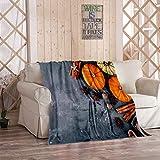 Kuidf - Manta de franela para cama, diseño de calabaza, diseño de tarta, 150 x 200 cm
