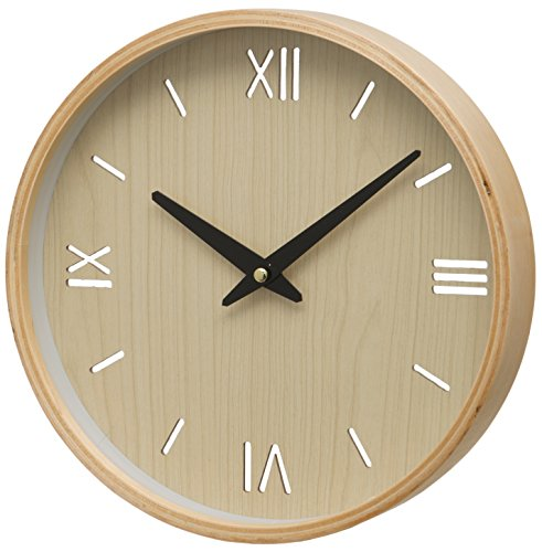 Unity Brora drewniany futerał rzymska cyfra i zegar ścienny z tarczą batonową, kremowy, 26 x 26 x 3 cm