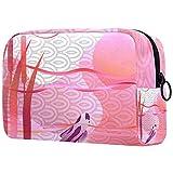 Bolsa de cosméticos Bolsa de Maquillaje Grande Bolsa con Cremallera Bolsa de Aseo Organizador portátil de cosméticos de Viaje Pesca Puesta de Sol koi Carpa Japonesa para Mujeres y niñas