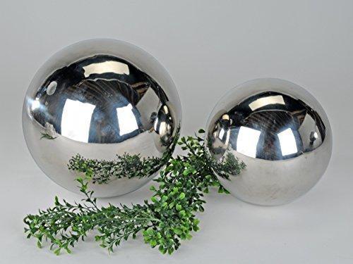 Moderne Deko Kugel Gartenkugel Gartendekoration aus Edelstahl in Silber Durchmesser 25 cm