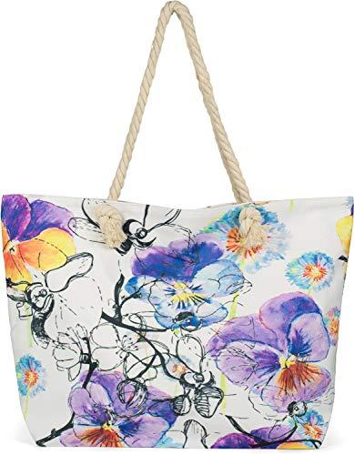 styleBREAKER Damen XXL Strandtasche mit buntem Veilchen Blumen Blüten Print, Reißverschluss, Schultertasche, Shopper 02012346, Farbe:Weiß-Violett-Blau