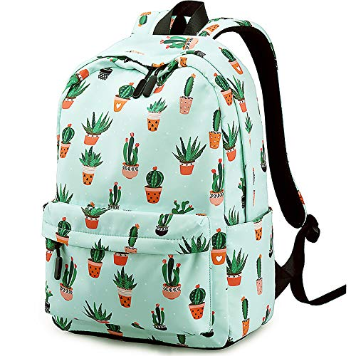 Xinveen - Mochila escolar impermeable para adolescentes, mochila escolar con estampado bonito para mujeres, viajes, casual, mochila, Cactus (Verde) - A-XVeu-plantsbag-xrz