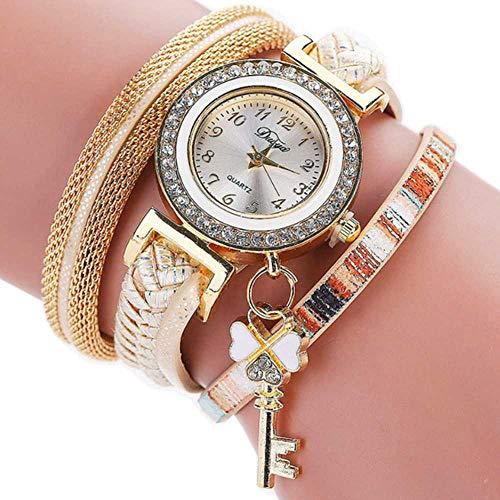 WSSVAN Reloj Venta de liquidación, mujer Círculo trenzado Llave colgante Reloj de moda Estilo femenino Aleación del viento nacional Candado Sra. PU Reloj de pulsera (oro)