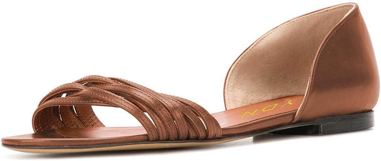 YDN Women Open Toe D'Orsay Ballet Flat Sandals Comfort Slip On Summer Walking shoes