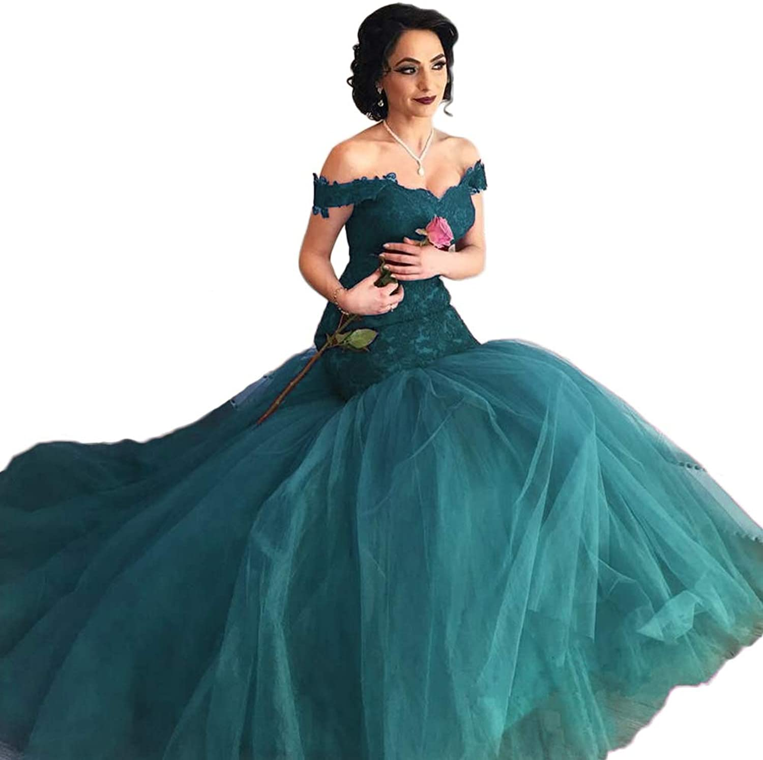 Yisha Bello Women's Off The Shoulder Lace Applique Mermaid Ball Gowns Long Tulle Evening Pro Dress