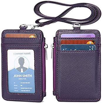 Leamekor ID Badge Holder with Neck Lanyard PU Leather ID Badge Wallet Case with 1 ID Window 4 Card Slots 1 Side Zipper Pocket