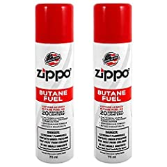 2-Pack Total. Zippo Butane Fuel 75 ml each can. Made in USA Zippo Butane Fuel will keep your Flex Necks, Candle Lighters, and Outdoor Utility Lighters working at their best. Will not clog burner valves thus affecting flame height and function This pr...