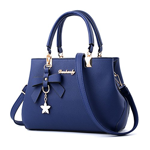 Hiigoo Women Purses PU Leather Handbags Zipper Tote Bags Messenger Bag (Blue)
