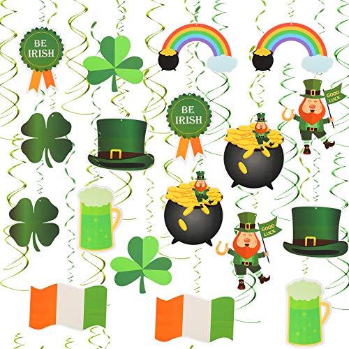 Matogle 30 piezas de decoración de fiesta de San Patricio, trébol verde irlandés de la suerte y duendes, remolino para colgar en el techo, ventana, pared, suministros de decoración de fiestas
