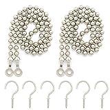 Curtain Ball Chain Tiebacks Tie-Backs, Curtain Ball Chain Holdbacks with 6 Metal Screw Hooks (Silver, 2pack)